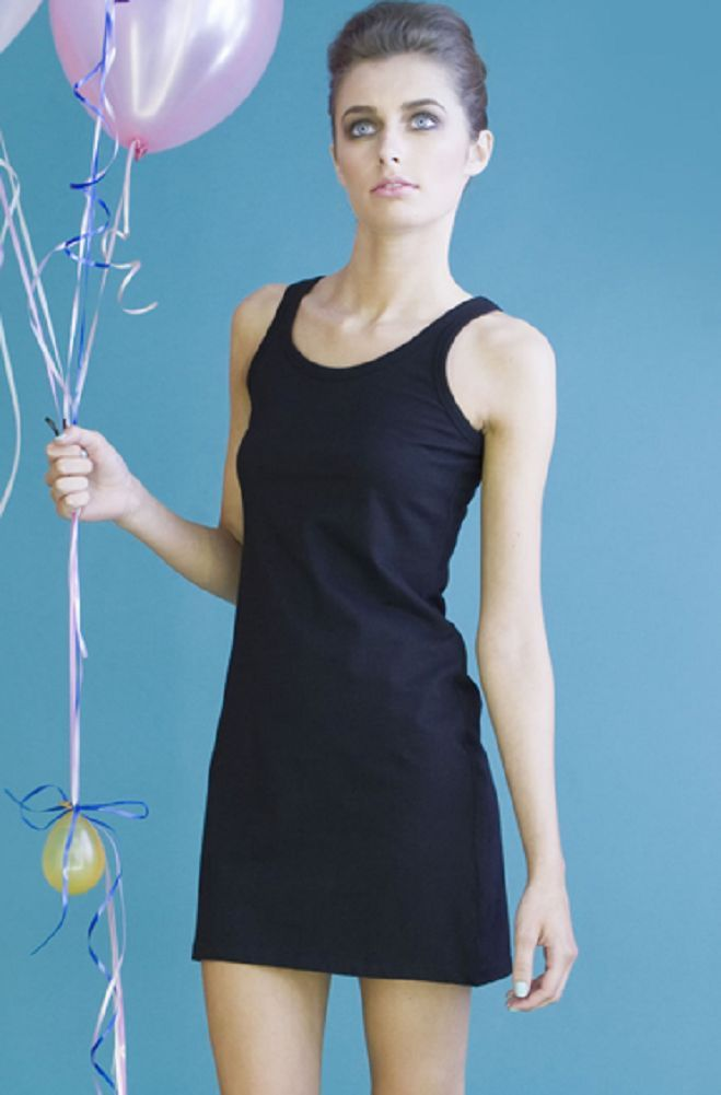 Ladies Womens Black or White Extra Long Stretch Tank Top Dress Vest Singlet 56599e643