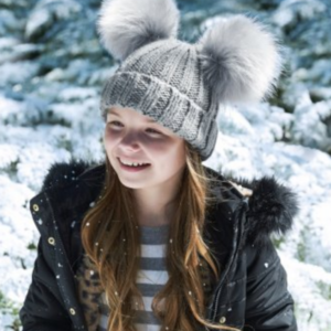 Beechfield Junior Faux Fur Double Pom Pom Beanie